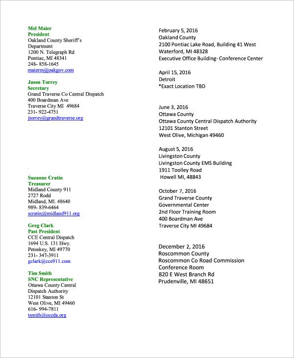 officers meeting schedule