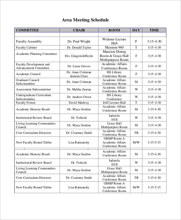 area meeting schedule