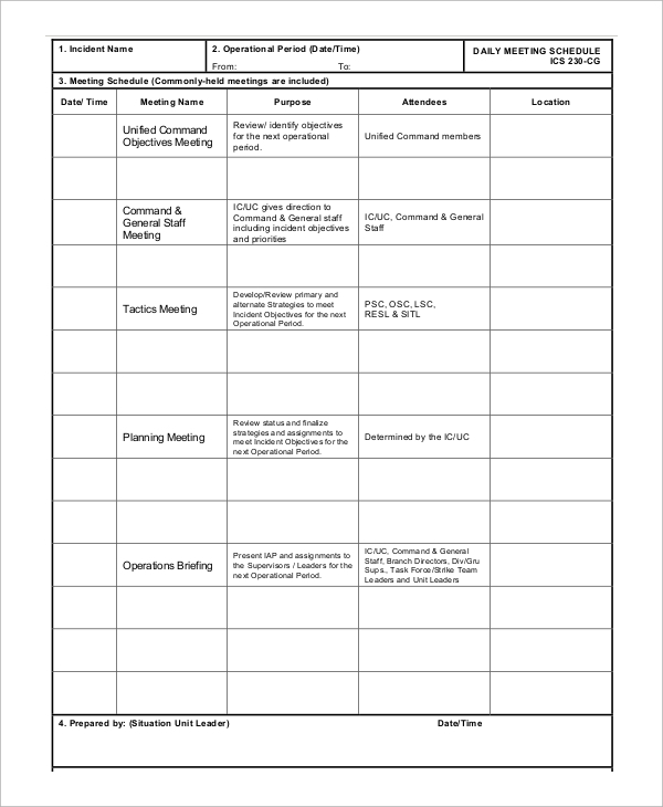 Sample Daily Meeting Schedule  Meeting Schedule Template