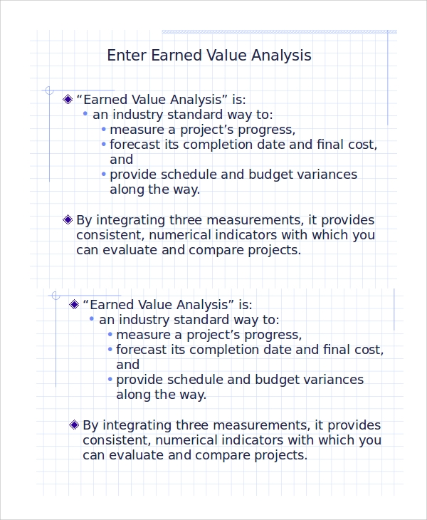 sample earned value analysis ppt
