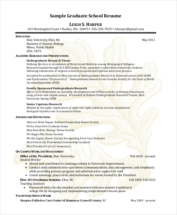 Free 9 Sample Graduate School Resume Templates In Pdf Ms Word