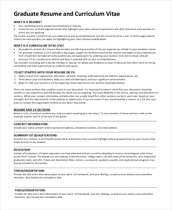 grad school curriculum vitae example graduate degree resume format sample guidelines
