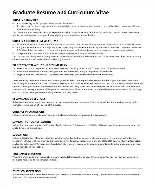 Resume For Grad School Psychology