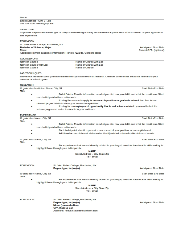 sample graduate school resume