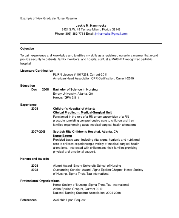 example-of-school-graduate-nurse-resume