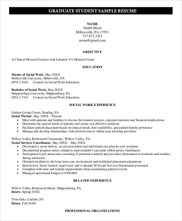 Sample Graduate School Resume 9 Examples In Pdf Word