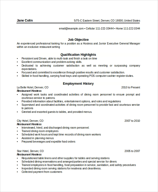 6 sample hostess resumes pdf doc sample templates