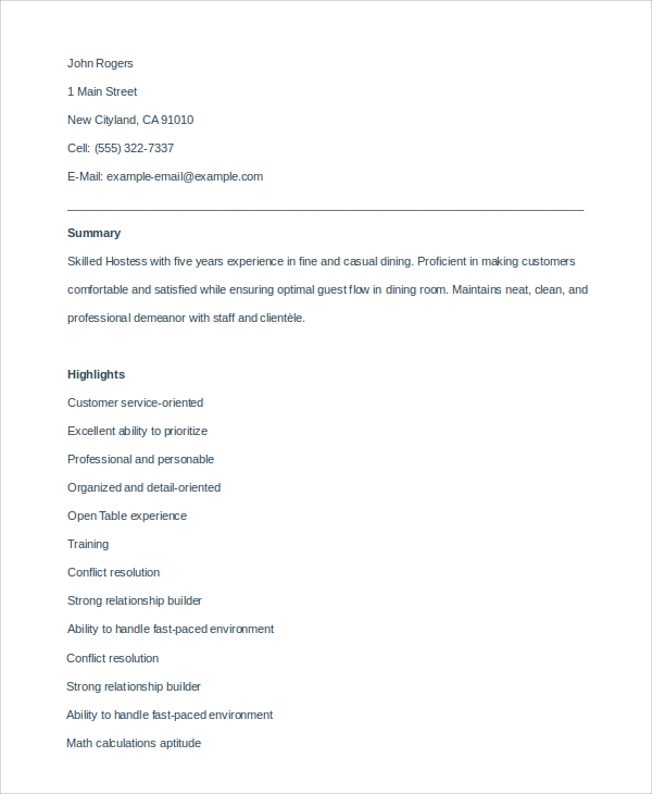 recipe hostess resume sample