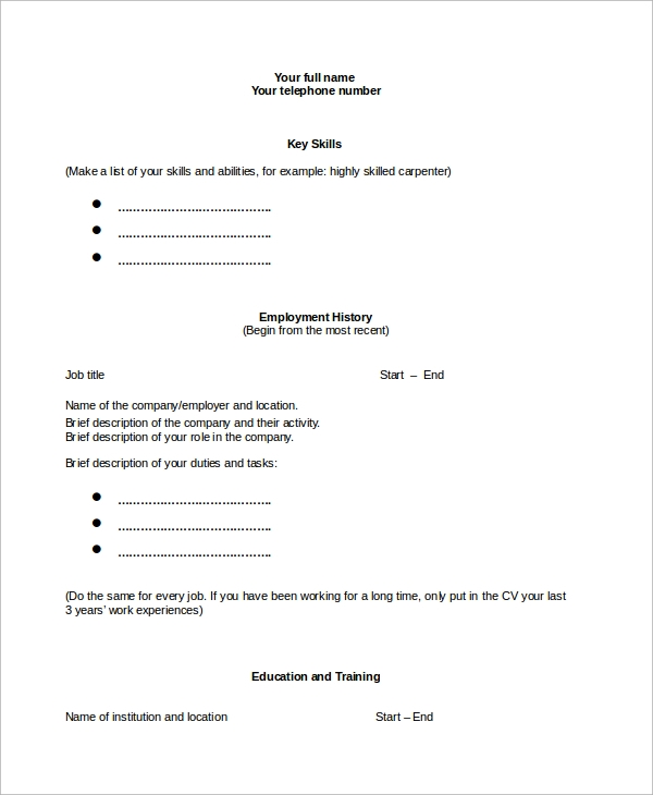 Free 9 Sample Blank Resume Templates In Ms Word Pdf