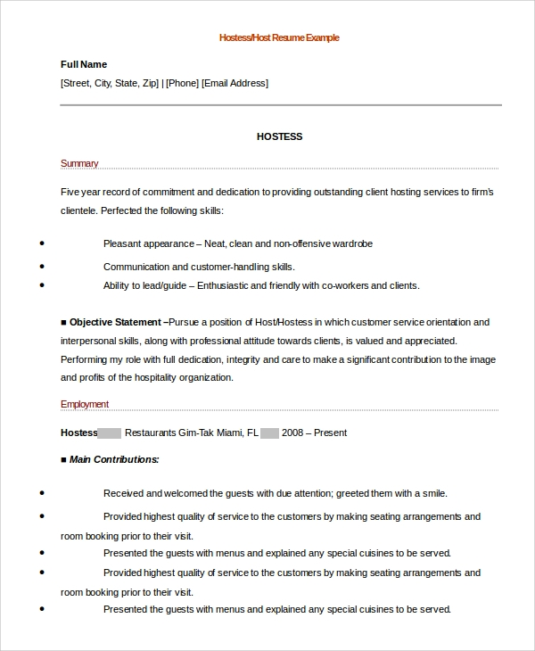 waitress job duties for resume job and resume template restaurant hostess resume sample