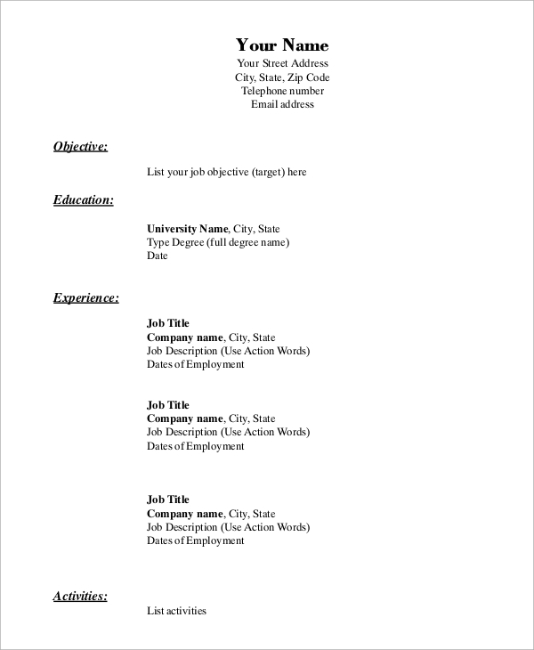 free 9  sample blank resume templates in ms word