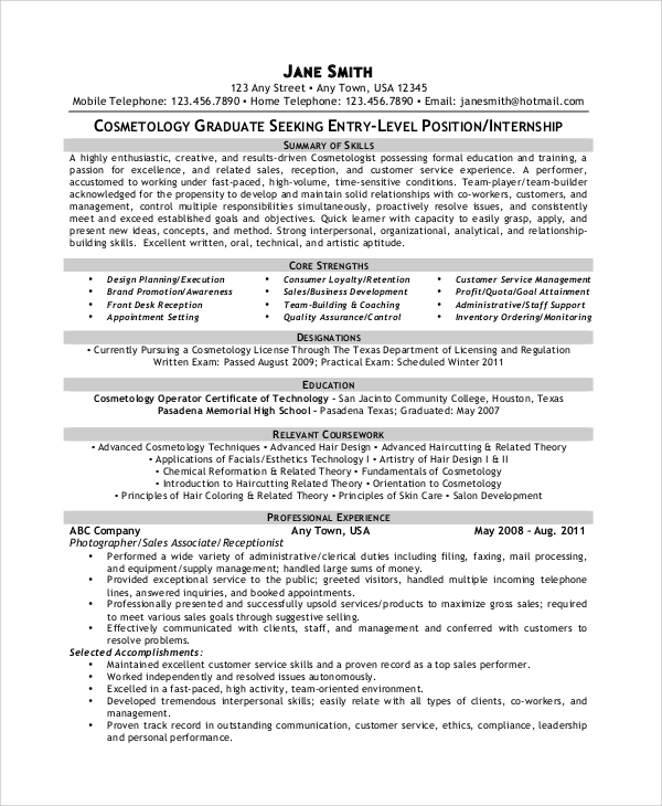 Sample Cosmetology Resume - 6+ Examples In Pdf, Word