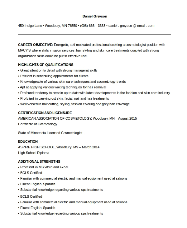 Sample Cosmetology Resume   Examples In Pdf Word