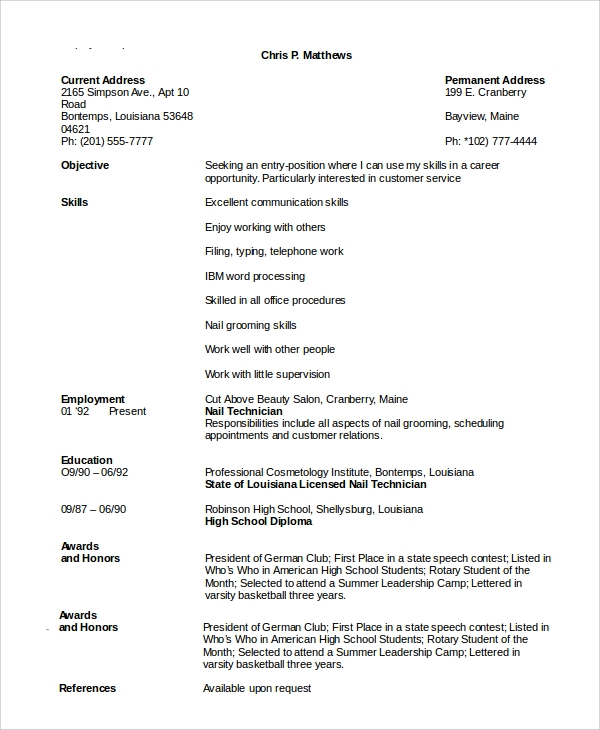 sample cosmetology resume