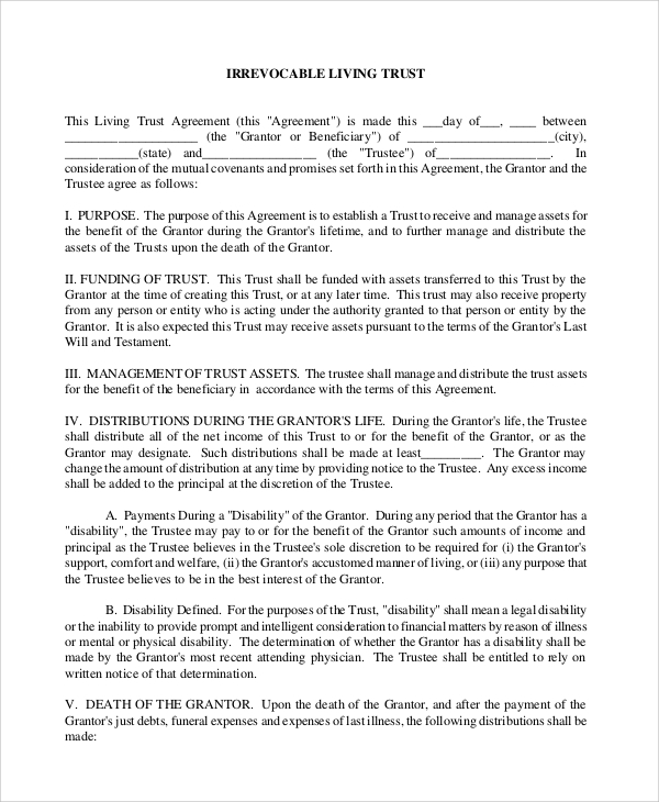 Sample Living Trust Form   Examples In Pdf Word