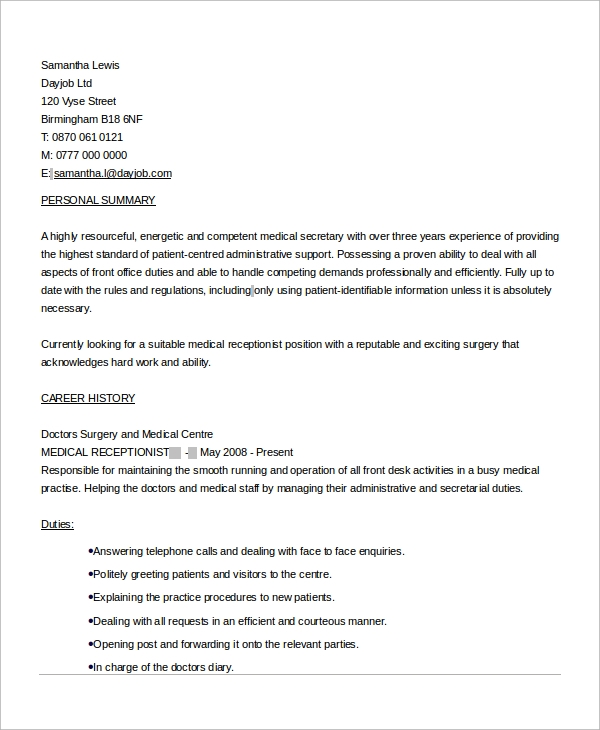 free 6  sample medical receptionist resume templates in ms