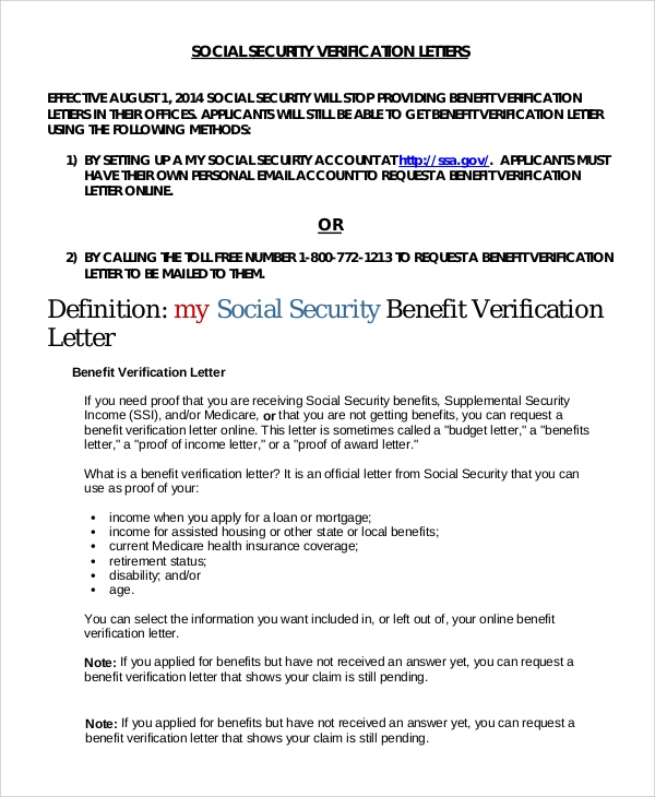 social security income verification letter