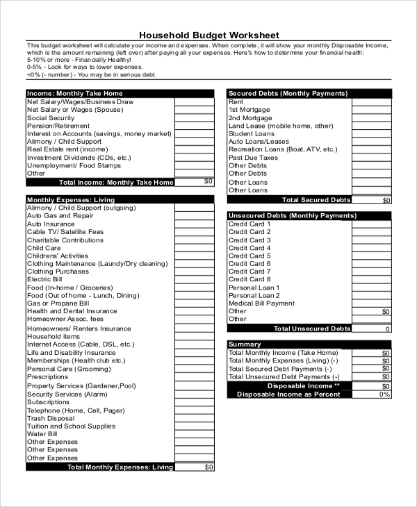 Sample Home Budget Worksheet - 6+ Examples In Pdf, Xls