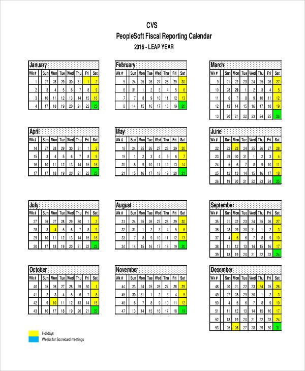 fiscal reporting calendar