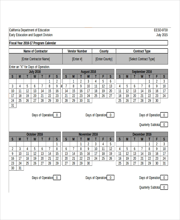 fiscal program calendar