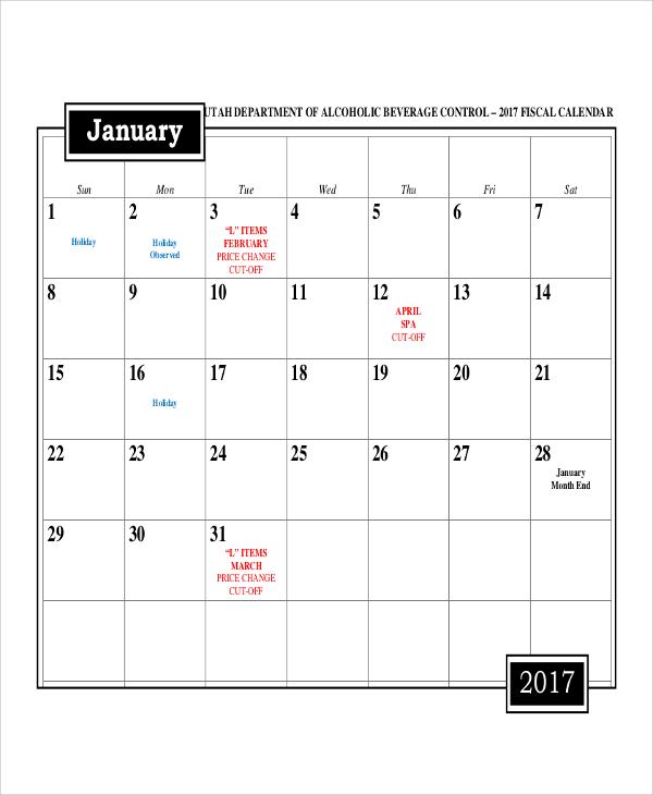 fiscal month calendar