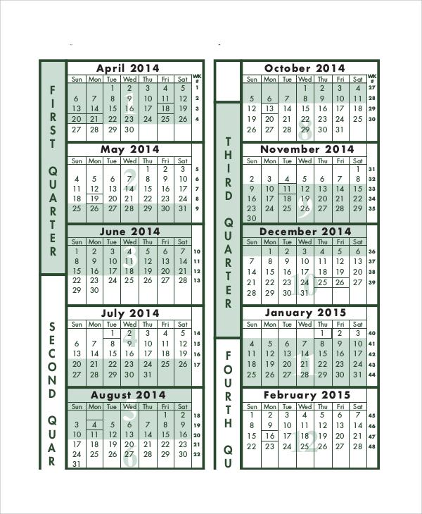 fiscal period calendar