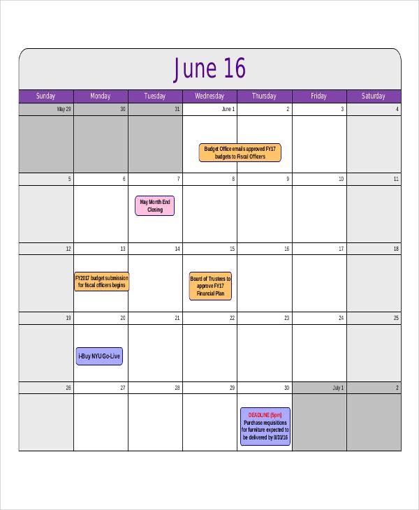 blank fiscal calendar