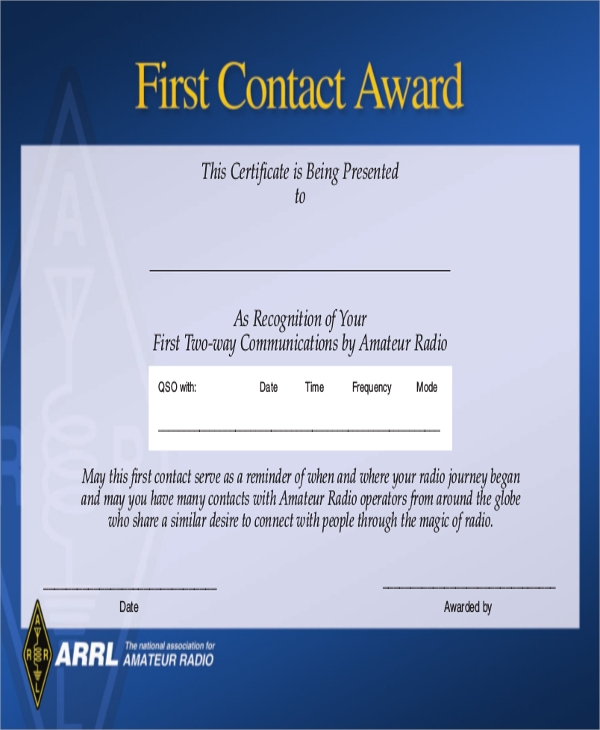 first contact award certificate