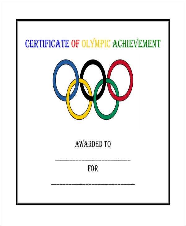 olympic achievement certificate
