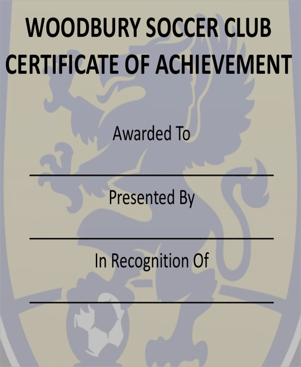 soccer club certificate of achievement