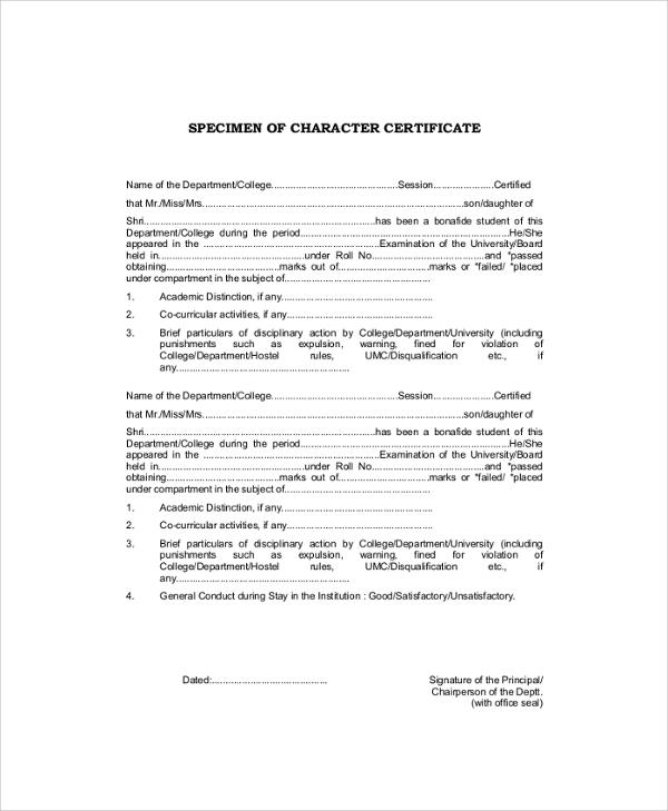 specimen of character certificate