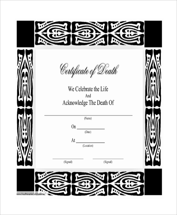 Death Certificate Template. (Use This Form After Death To Transfer ...
