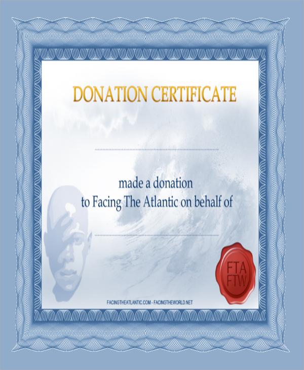 non profit donation certificate