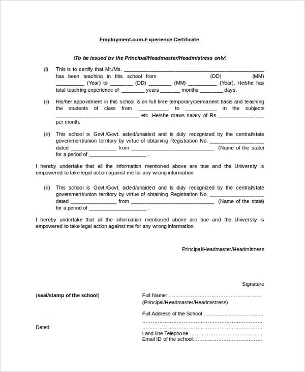 employment cum experience certificate