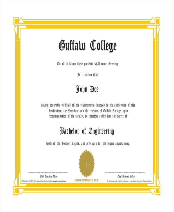 bachelor of engineering educational certificate