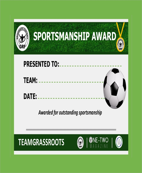 sportsmanship football certificate