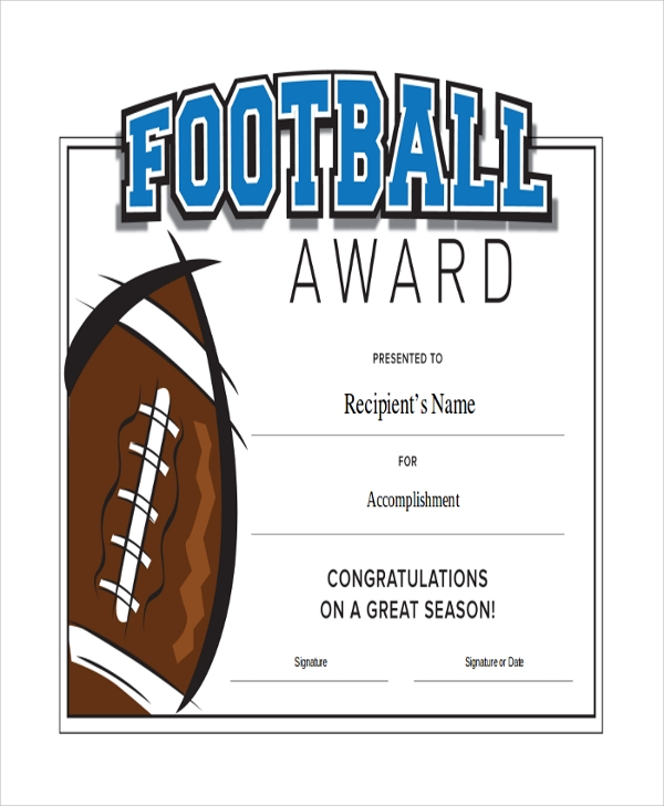 Football certificate templates youth award printables mandegarfo football certificate templates youth award printables yelopaper Gallery