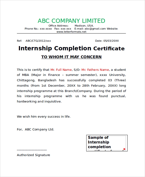43 sample certificates sample templates internship completion certificate letterformats details file format altavistaventures
