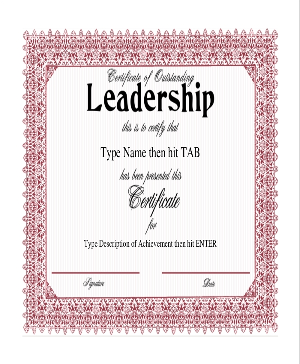 Sample certificate 43 examples in pdf word leadership achivement certificate yadclub Gallery