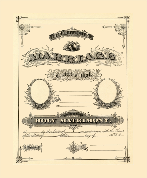 holy marriage certificate