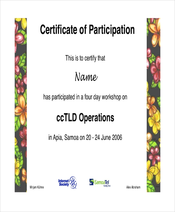 certificate of workshop participation