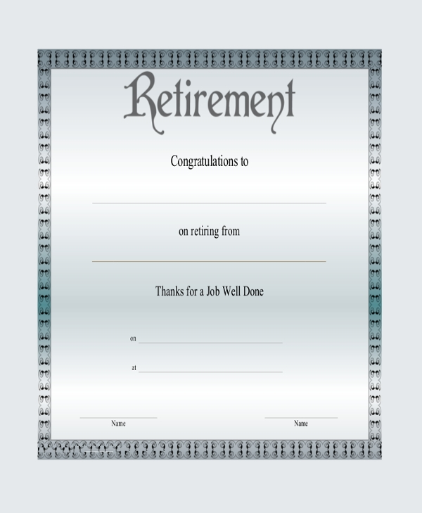 retirement congratulation certificate
