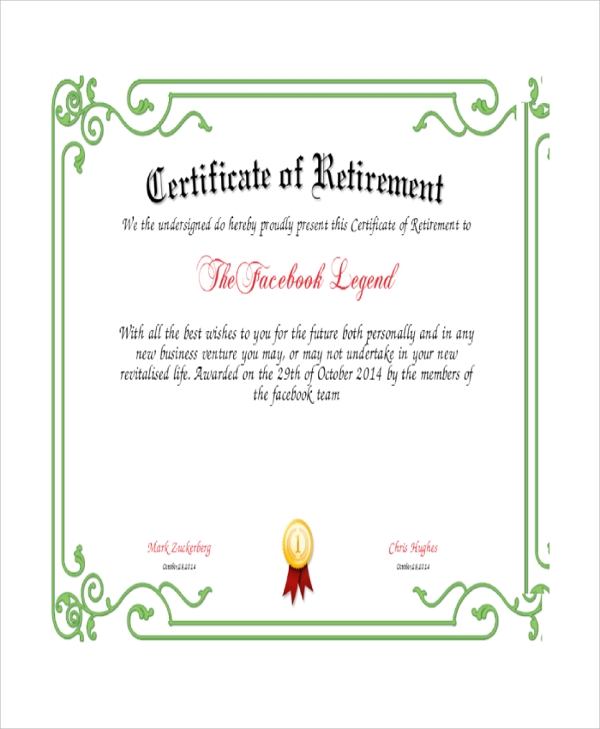 certificate of retirement to facebook legend