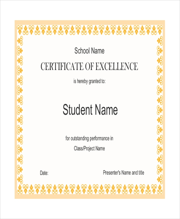 certification of excellence for student