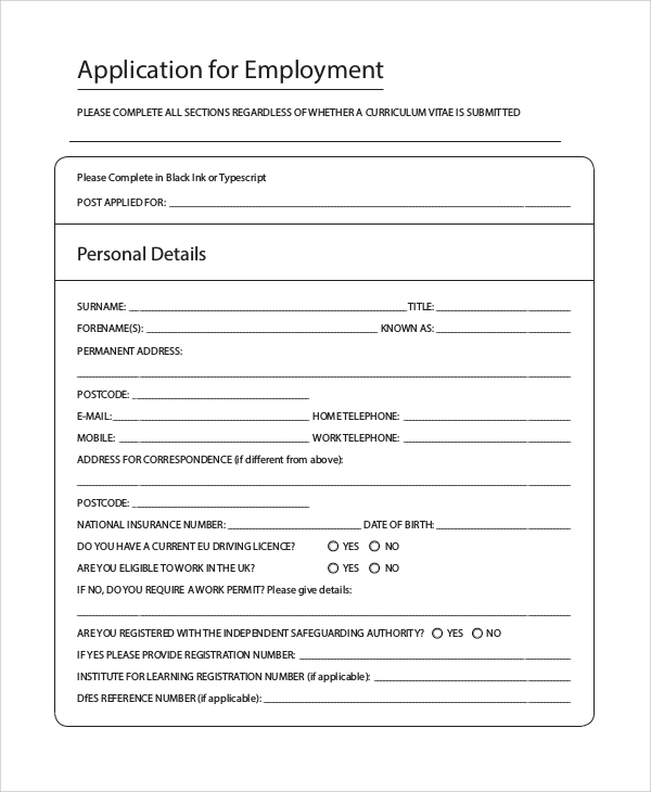 Sample Printable Job Application Form 10 Examples In Pdf Word