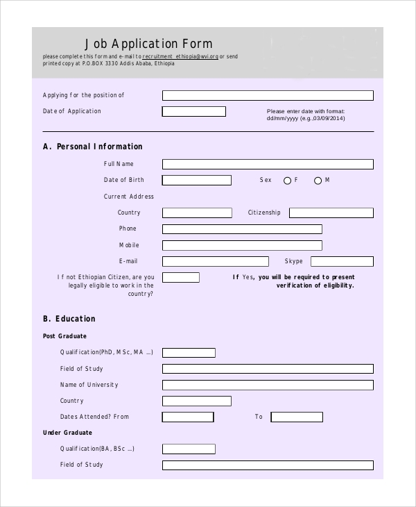 personal information job application form printable