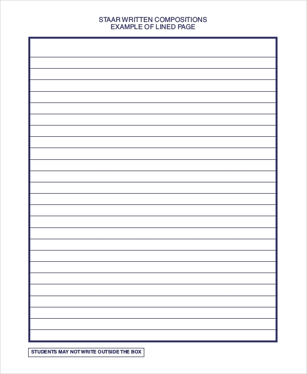 Sample Staar Written Lined Paper  Lined Paper Printables