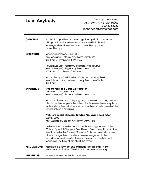 Massage therapist resume example