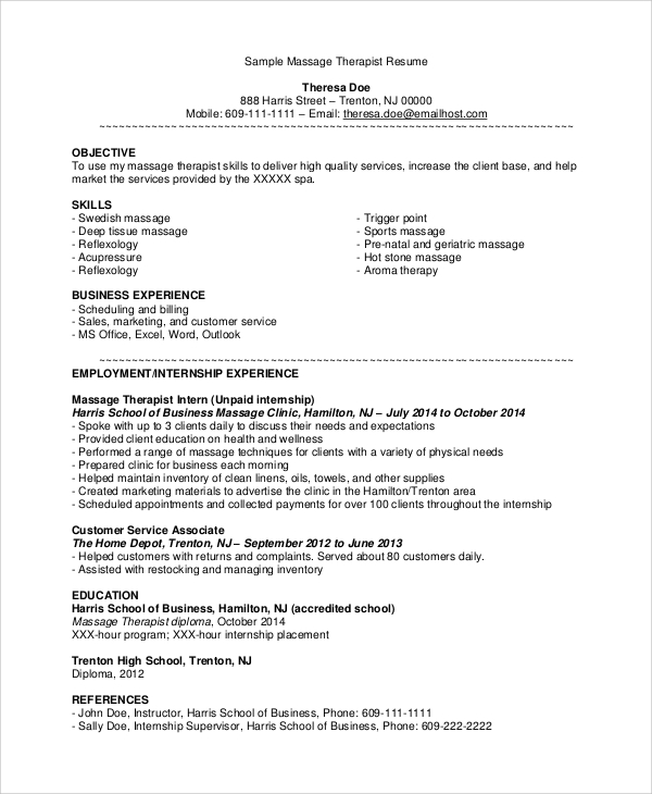 Sample Job Resumes Examples: Sample Massage Therapist Resume