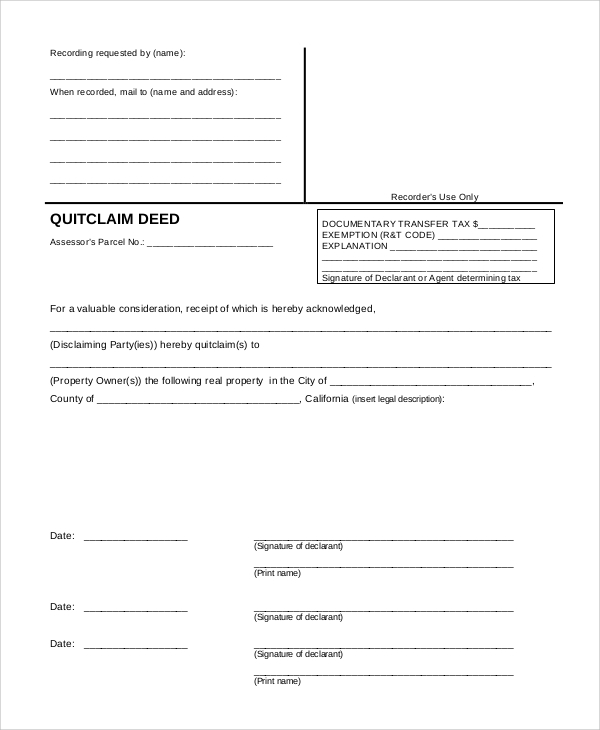 property quit claim deed form